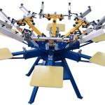 A modern manual screenprint octo-press.